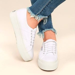 Superga Linea Up And Down White Flatform Sneakers